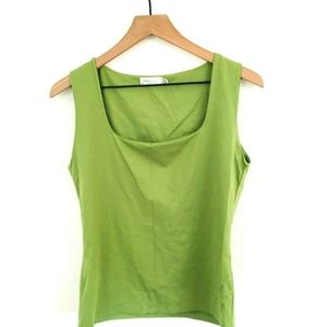 Zara Solid Green Sleeveless Top Large